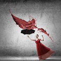 Ballerina in red dress Royalty Free Stock Photo