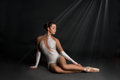 The ballerina  sits and has a rest Royalty Free Stock Photo