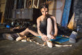 Ballerina Sitting On The Warm-...