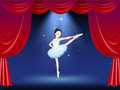 A ballerina at the stage with a red curtain illustration of Stock Photo
