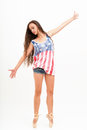 Ballerina in top colors of USA flag, jeans Royalty Free Stock Photo