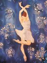 Ballerina in white dancing. Painting on silk. Royalty Free Stock Images