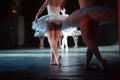 Ballerinas in the movement. Feet of ballerinas close up.