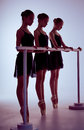 Ballerinas stretching on the bar Royalty Free Stock Photo