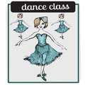 Ballet classes cartoon style vector illustration isolated on white background. Ballerina. Ballet dancer. Dance school Royalty Free Stock Photo