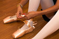 Ballet dancer close up of a performing exercises Royalty Free Stock Photos