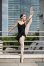 Ballet dancer dancing on street Stock Photo