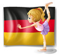 A ballet dancer in front of the flag of germany illustration on white background Royalty Free Stock Images