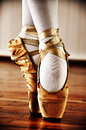 Ballet dancer with old shoes Royalty Free Stock Images