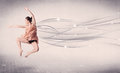 Ballet dancer performing modern dance with abstract lines concept on background Stock Photo