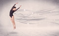 Ballet dancer performing modern dance with abstract lines concept on background Stock Photography