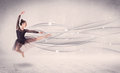 Ballet dancer performing modern dance with abstract lines concept on background Royalty Free Stock Photo
