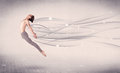 Ballet dancer performing modern dance with abstract lines