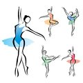 Ballet dancer silhouette set of symbols Stock Photography