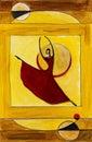 Ballet dancer in wooden frame