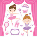 Ballet dancers illustration of little ballerinas and other related items Royalty Free Stock Photography