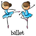 Ballet dancers illustration of the on a white background Royalty Free Stock Photo