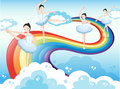 Ballet dancers in the sky with a rainbow illustration of Royalty Free Stock Photos