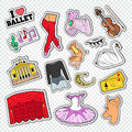 Ballet Doodle with Dance Theater Stickers, Patches and Badges