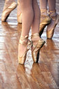 A ballet fragment with little girls legs on pointes Stock Images