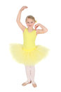 Ballet girl blond wearing a yellow tutu on white background Stock Photos