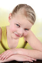 Ballet girl blond wearing a yellow tutu on white background Royalty Free Stock Photo