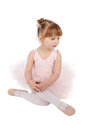 Ballet girl toddler in pink against white background Stock Photo