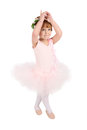 Ballet girl toddler in pink against white background Stock Photos