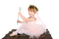 Ballet girl toddler in pink against white background Royalty Free Stock Image