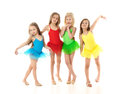 Ballet girls group of little isolated on white background Royalty Free Stock Photos