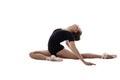 Ballet image of flexible dancer doing splits studio photo Royalty Free Stock Image