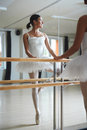 Ballet repetition pretty young dancer having Stock Image