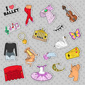 Ballet Stickers, Badges, Patches Set with Theater Elements