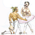 Ballet topic funny pictures two bodybuilders dancing in Royalty Free Stock Photos