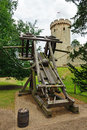 Ballista a medieval in front of the warwick castle warwickshire england Stock Photography