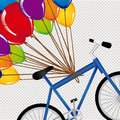 Ballons and bicycle over dotted background vector illustration Royalty Free Stock Photos