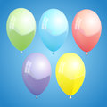 Ballons fin vector illustration of colorful on blue background Royalty Free Stock Images