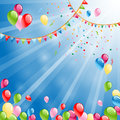 Ballons fly happy birthday balloons on white Royalty Free Stock Photos