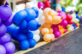 Balloon animal many stand in a line on the table Royalty Free Stock Image