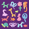 Balloon animals vector illustration cartoon set festive present rounded birthday games colorful toy.