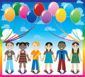 Balloon Background with Kids Stock Photo