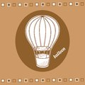 Balloon with a basket retro vector vintage vector collection Stock Image