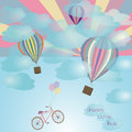 Balloon and bicycle vector drawing Stock Image