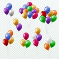Balloon bunches. Party decoration color balloons flying groups isolated 3d vector set