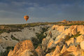 Balloon in cappadocia over the hills at dawn Royalty Free Stock Images