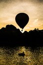 Balloon in the dawn of the day at vang vieng laos Royalty Free Stock Photos