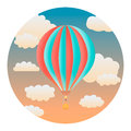 Balloon detailed illustration in the evening sky circle with gradients and clipping mask isolated on white Stock Photos