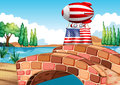 A balloon and the flag of the united states illustration above bridge Stock Images