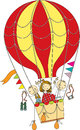 Balloon flight children flying on a colored Stock Photo