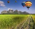 Balloon fly on green terraced rice field in chiangmai thailand Royalty Free Stock Photos